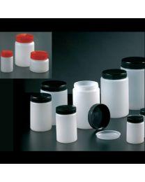 Bocaux en polyéthylène à large ouverture avec couvercle, obturateur de couleur naturelle et couvercle noir